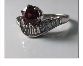 Vintage Platinum Rubellite Tourmaline and  VS Baguette Diamond Engagement Ring