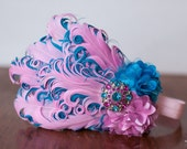 Couture Headband-  Teal Blue and Baby Pink - Feather Headband - Photo Prop - Toddler Headband