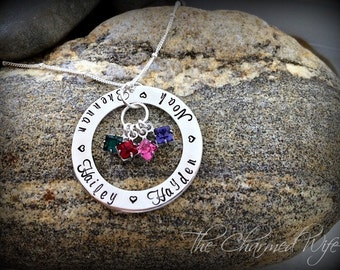 Mother's Name Birthstone Necklace - Birthstone Jewelry for Mom / Grandma - The Charmed Wife - Hand Stamped Jewelry for Mom - Christmas Gifts