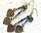 Vintage Heart and Beaded Dangle Pierced Earrings Blue Black Silver