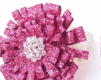 Shabby Chic Pink Glitter Pin/Brooch Hair Clip