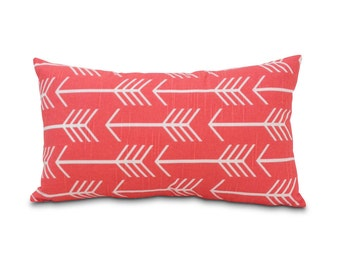 SALE: Coral Arrow Pillow Cover. Desert Style.  Southwest Modern Style Throw.  Lumbar Throw Pillow. Gifts for her. Pink pillow. Coral decor