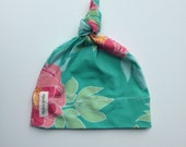 Organic Jersey knit baby knotted hat- aqua with pink peonie flowers