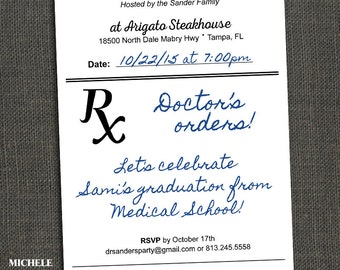 Medical Field Graduation Party Invitation or Announcement - RX Prescription - PRINTABLE