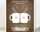 Coffee Love - Custom Wedding Date Name Print - Personalized Wedding Gift - Bridal Shower Gift - Engagement Present - Print or Canvas