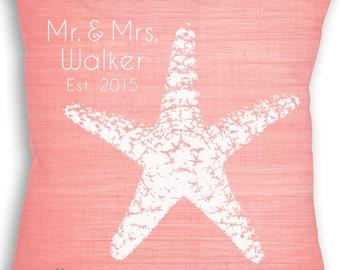 Starfish - Starfish Pillow - Starfish Custom Pillow - Beach Wedding - Personalized Wedding Gift - Bridal Shower Gift - Engagement Gift