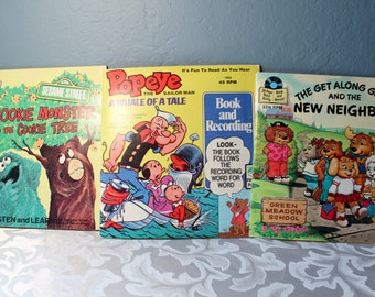 Popeye Cookie Monster And The Get Along Gang Read-a-long Book and Records