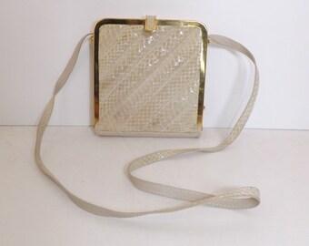 Vintage box boxy real snakeskin snake leather boxy shoulder bag handbag beige cream