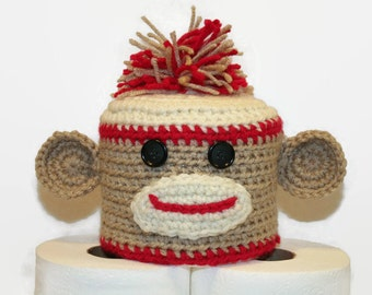 Sock Monkey Toilet Tissue Cover