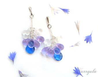 Sterling silver earrings, cornflower, dangle studs, blue earrings for her, Quartz and glass