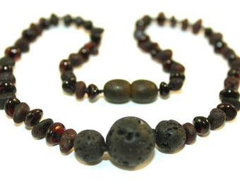 Raw NATURAL BALTIC AMBER Unique Teething Necklace with Natural Volcanic Lava Beads for Baby or all Ages Children