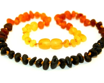 Raw NATURAL BALTIC AMBER Maximum Effective Baby Teething Necklace