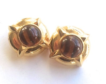Chunky Tiger's Eye Earrings Gold Metal Retro Chic Vintage Fashion Jewelry