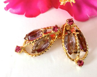 Pink & Purple Rhinestone Earrings Juliana Retro Fashion Jewelry