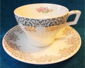 Vintage Cup saucer Glendale Pattern by Sebring