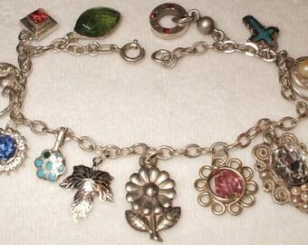 Vintage Sterling Charm Bracelet signed Karo