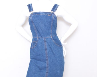 Vintage Guess Jeans Blue Denim Overalls Pencil Dress Size 3, Perfect for Summer
