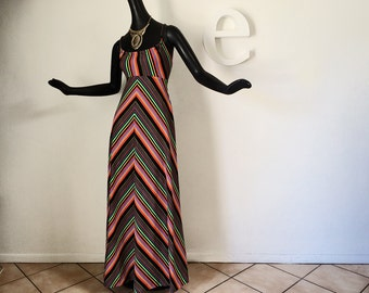 Vintage 70s Maxi Dress 1970s Chevron Stripe Hippie Boho Strappy Halter Dress Black Multi Rainbow Stripe Beach Pool Swim Dress Size Small