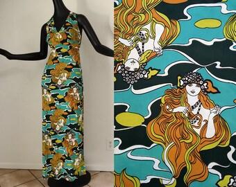 GROOVY Vintage 70s Hippie Maxi Dress Art Nouveau Ladies Heads Faces Print 1970s Boho Hippy Festival Disco Halter Dress 1920s Art Deco Look S