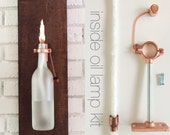 HARDWARE ONLY -2 Wine (beer) Bottle Oil Lamps -  Gift for Her - copper wall sconce - DIY lamp kit - Use Your Own Bottles -