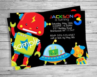 Robots Robot Birthday party invitation, Custom Personalized - Digital File, DIY Printable File