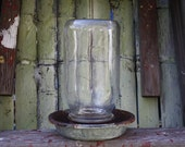 Vintage Chicken Waterer - Farmhouse Chic - Galvanized and Glass - Home Decor