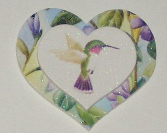 Hummingbird Flower Heart Magnet - Recycled GREETING CARD - NOT a Soda Can