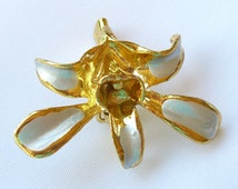 Vintage Gold Plated Orchid Brooch Pin Hand Painted 1950s Flower Jewelry