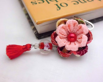Red Pink Flower Bookmark/ Kanzashi Inspired/ Red Pink Bookmark/ Metal Bookmark/ Hook Bookmark/ Fabric Flower/ Gift Under 20 Dollars/ OOAK