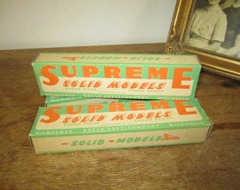 """Supreme Solid Model """" Bell Airacomet"""" NOS. Balsa wood model plane. New, Unassembled. In box. 1940's model plane"""