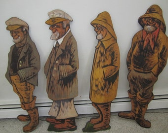Hand Carved and Pyrographed Sailor Figures. Wall Art. Nautical Art.