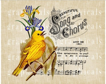 Yellow bird music instant graphic digital download image transfer for iron on fabric Decoupage Paper Burlap Pillows Cards Crafts No. 526