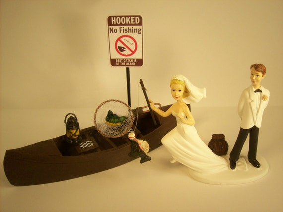 No FISHING Running Bride Funny Wedding Cake Topper W Boat