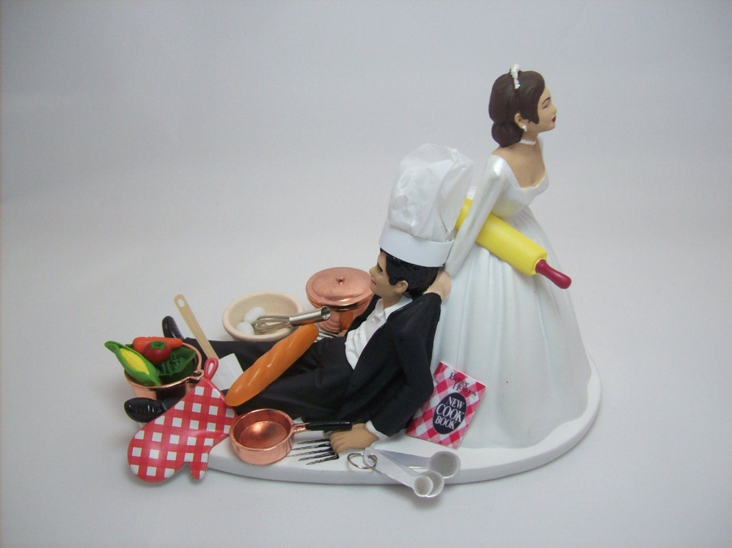 chef groom wedding cake topper no cooking chef baker copper pans cook book hispanic 12632