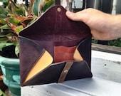 Plum purple leather wallet, Expandiable envelope clutch, Magnetic closer