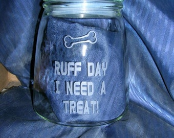 Engraved dog treat jar, etched dog treat jar, personalized dog treat jar, personalized cat treat jar