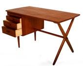 "Mid Century Danish Modern Teak ""X"" Base Desk Wegner Era"