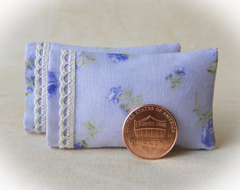 Dollhouse Miniature Pillows Set of 2 Lavendar Bed Pillows with delicate lace detail - 1:12 scale