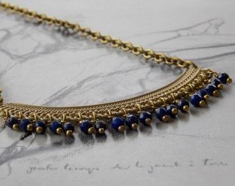 Lapis Lazuli and Vintage Brass Necklace, Half Moon Pendant, Vintage Brass Chain, Bohemian, Boho Chic, Tribal necklace