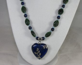 Lapis Heart Necklace With Aventurine, Angelite and Lapis Beads