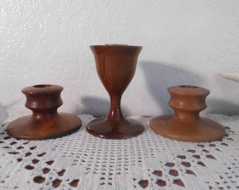 Antique Vintage Wood Wedding Unity Candle Holder Set Myrtle Lathe Carved Taper Table Centerpiece Decoration Country Farmhouse Home Decor
