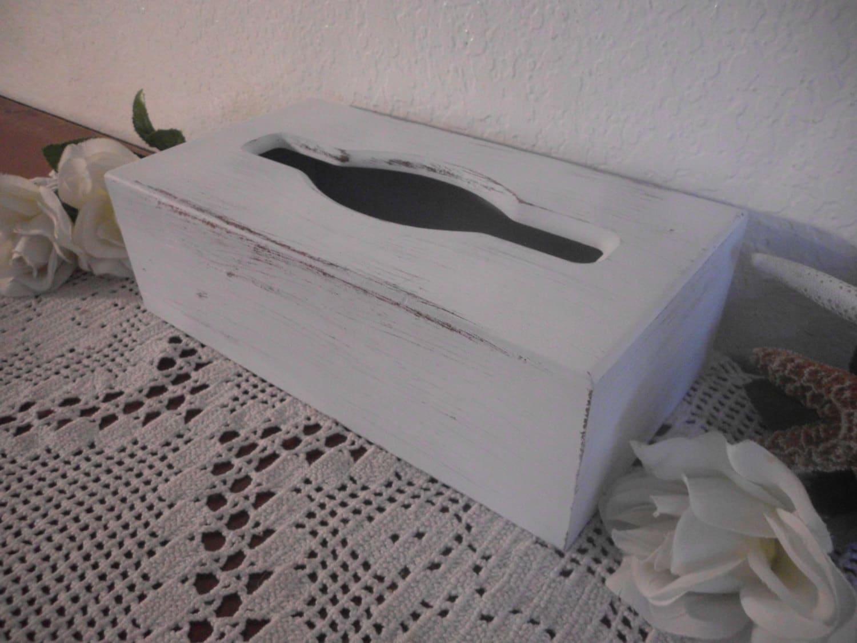 Tissue box cover kleenex white shabby chic by elegantseashore for Tissu shabby chic