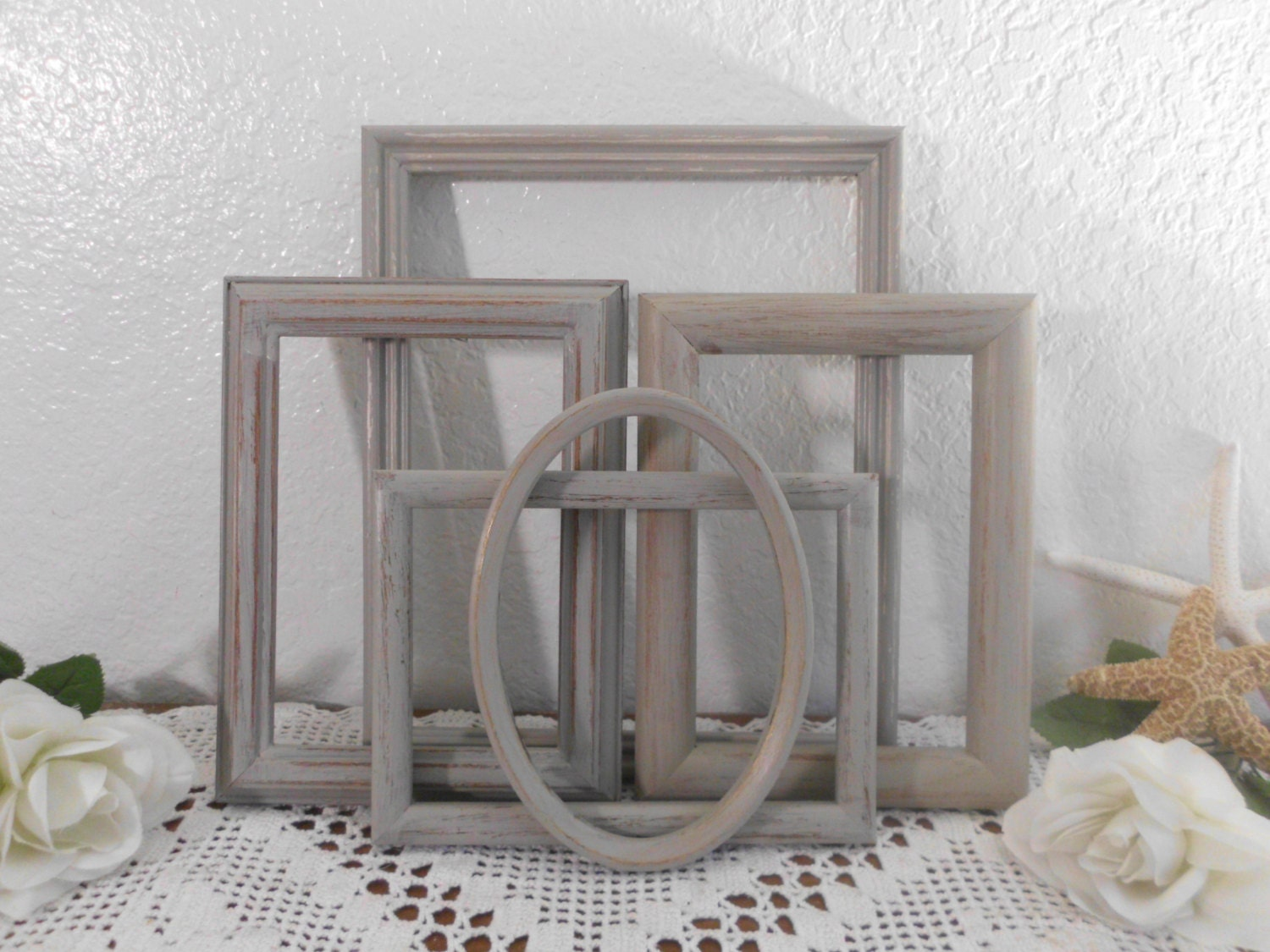 gray picture frame set rustic grey shabby chic distressed. Black Bedroom Furniture Sets. Home Design Ideas