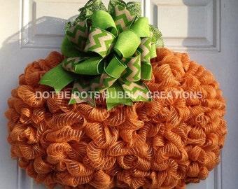 3-D Jute Autumn, Harvest Fall Pumpkin Wreath