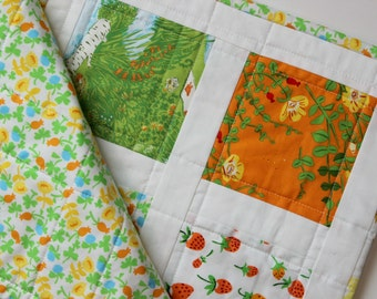 Baby Girl Quilt, Heather Ross Briar Rose, Patchwork Quilt