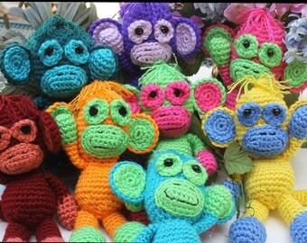 CUSTOM  Monkey stuffed Bright colors Toy Crochet