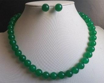 jade set - 10mm green jade necklace & earrings set  free shipping