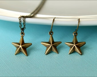Barn Star Necklace and Earring Set in Aged Brass