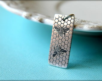 Two Bees & Honeycomb Tag Necklace in Sterling Silver
