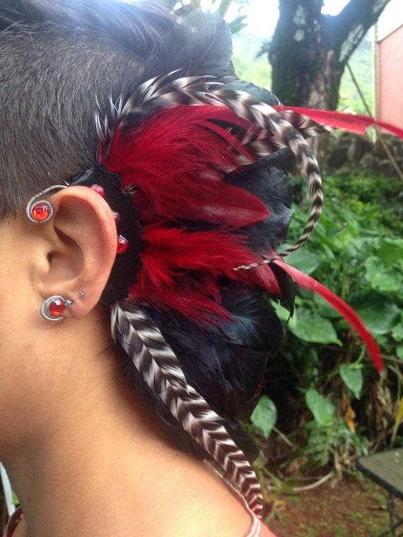 READY TO SHIP - Dare Devil - Customizable Feather Ear-Wing / Ear Cuff / Ear Hawk